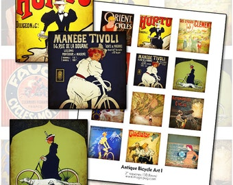 Antique Bicycle Posters I 2x2 inch digital collage sheet inchies 50mm square