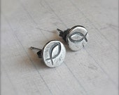 Little Rustic Fish - Fine and Sterling Silver Post Earrings - Made to Order