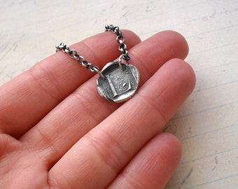 Fine Silver Wax Seal Initial Necklace with Paislies - MADE TO ORDER