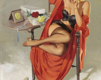 VALENTINE ELVGREN -2 for 1 SALE  Negligee Pin-up Crocker Spaniel stockings Lingerie, sheer robe nylons satin panties pinup