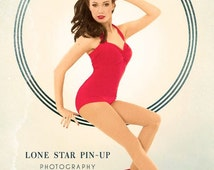 Red Retro Pin Up Halter Swimsuit One Piece maillot Made to Order
