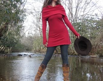ORGANIC Super Cowl Simplicity Fleece Tunic (Hemp/Organic Cotton Fleece) - organic dress