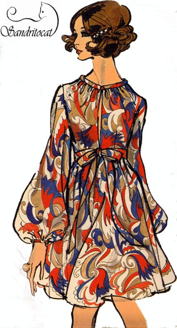1960s Vintage Sewing Pattern Vogue 7675 MOD Empire Dress Size 14 Bust 36