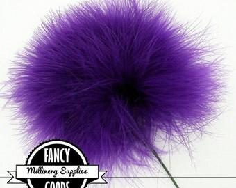 Purple - Feather Pom Pom Pick - Marabou - Ostrich Feather - Pom Pom - Millinery Feather - Bouquet Pick