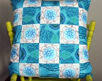 Patchwork Pillow - Blue Flowers and Topography