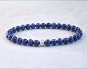 Lapis lazuli bracelet with sterling silver, blue with flecks of pyrite, stretch style, for men or women, free shipping