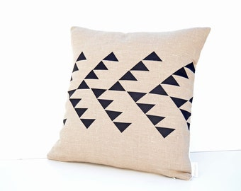 Beige linen pillow cover with geometric design in black Inspired by tribal patterns
