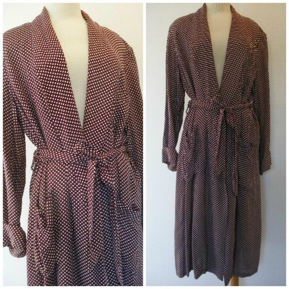 men's robe, vintage 50s Mad Men swanky style robe, mint unisex retro robe maroon and white polka dots.