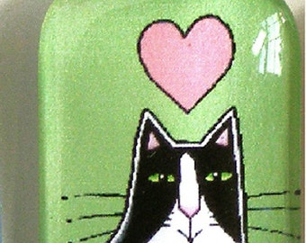 Tuxedo Cat Glass Pendant SALE/ Apple Green with Pink Heart