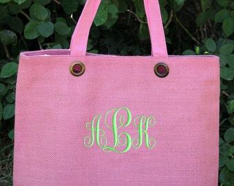 Monogrammed Tote Bag Jute Pink Personalized Wedding Bridesmaid