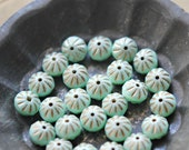 Mint Bites - Czech Glass, Opaque Mint, Metallic Gold Picasso, Crullers 9x6mm - 10 Pc
