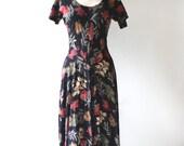 vintage 90s dress maxi dress falling leaves