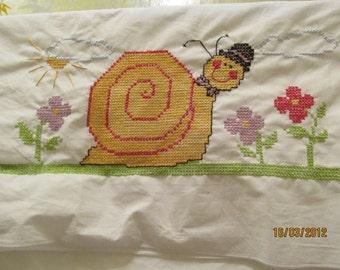 Hand Embroidered Mr Sammy Snail Pillow Case