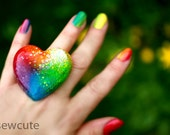 Resin Rainbow Bright Glitter Neon Summer Ring, Big Heart Shaped Glitter Statement Jewelry, Intense ROYGBV Colorful, Handmade by isewcute