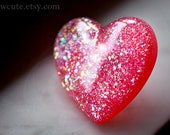 Jewelry Glitter Ring Extra Large Sparkly Pink Heart Shaped Big Bling... handcrafted resin jewelry by isewcute