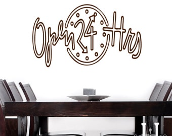 wall decal office decor, Clock Decal 32X15 Open Sign Decal Business Decor Open 24 Hours vinyl decal, Office Wall vinyl decals, Business sign