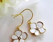 White Flower Earrings, Petite Lotus Flower, Earring Necklace Set, Dangle Drops, Flower Charm, Bridesmaid Jewelry, Mothers day