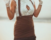 DAPPER STEAMPUNK SKIRT - Organic Burning man Burlesque Hippie Dress Steam punk Boho Aline Faery - Brown