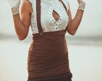 Sale - DAPPER STEAMPUNK SKIRT - Organic Burning man Burlesque Hippie Dress Steam punk Boho Aline Faery - Brown