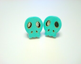 Sugar Skull Stud Earrings Turquoise Day of the Dead Earrings