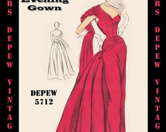 Vintage Sewing Pattern 1950's Evening Ball Gown in Any Size - PLUS Size Included - Depew 5712 -INSTANT DOWNLOAD-