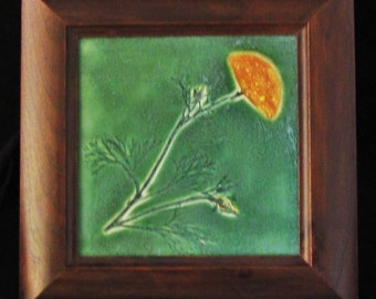 California Poppy HM  tile - Walnut wood frame - satin mat glaze green orange craftsman inspired CA art tile OOAK