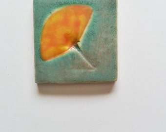 California Poppy ceramic tile: HM CA botanic decor green yellow orange glaze craftsman inspired