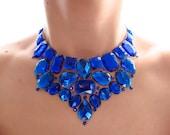Royal Blue Rhinestone Bib Necklace, Blue Jeweled Rhinestone Statement Necklace, Blue Bridesmaid Necklace, Blue Statement Necklace