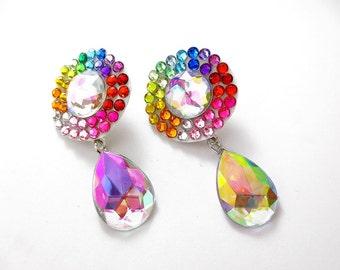 Rainbow Acrylic Rhinestone Drop Earrings, Light Weight Rhinestone Rainbow Earrings, Colorful Rainbow Earrings. Light Weight Rainbow Earrings