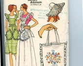 Vintage 70s Betsey Johnson of Alley Cat Butterick 4090 Pattern Apron Dress with Detachable Bib, Brimmed Hat,Tote Bag Sz 12-14 B34-36 UNCUT