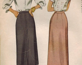 1940s McCall 7243 Vintage Sewing Pattern Misses Flared Skirt Size Waist 24