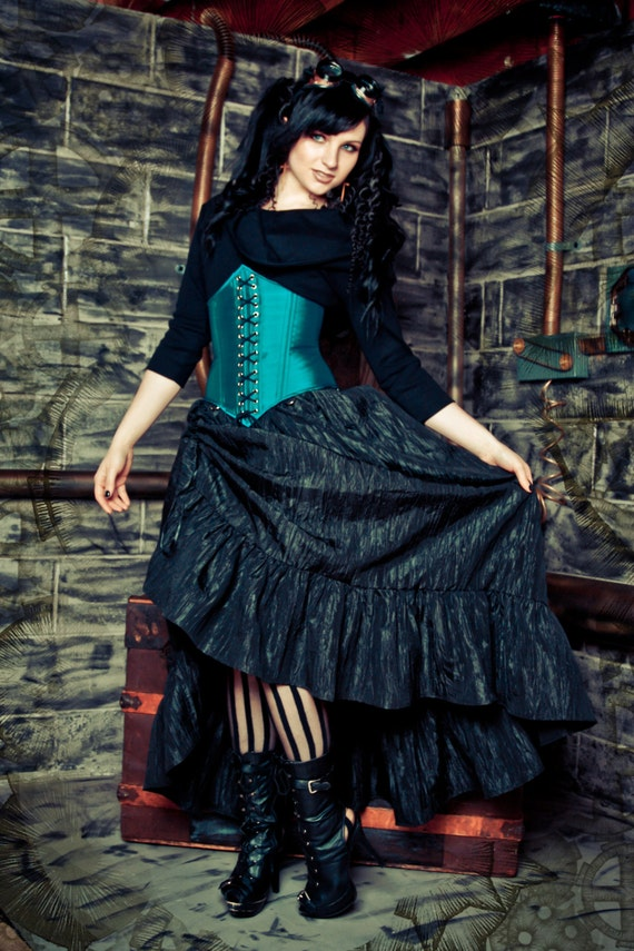 Steampunk Skirt Victoria Style - Pirate Renissance - Crinkle Taffeta Gather Ruffle with Bustle Pulls - Petite to Plus size XS-5XL