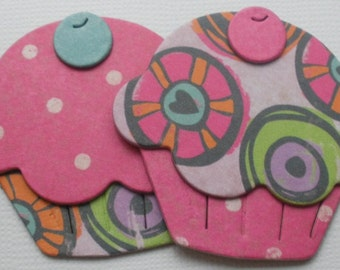 COTTON CANDY Cupcake Die Cuts -  Chipboard Cupcake Toppers  - You select Quantity