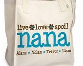 nana or grandma tote personalized tote bag -great mother's day gift for grandma
