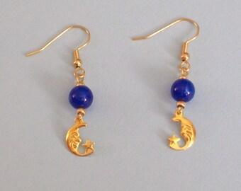Crescent Moon Dangle Earrings - Celestial Jewelry