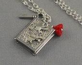Silver Book Shaped, Bunny Locket Silver Key, Red Flower, Hare, Wonderland Locket Necklace-  WILD RABBIT