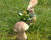 Autumn fall crochet felted wool mushroom woodland nursery decoration Alice in Wonderland XXL mushroom Birthday kids playroom Waldorf toy