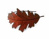 Oak Leaf Headband- Unique Embroidered Autumn Leaf Headband- Rust with Dark Brown Embroidery