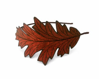 Oak Leaf Headband- Unique Embroidered Autumn Leaf Headband- Rust with Dark Brown Embroidery