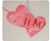 Set of 4 Handmade Pink Valentine Heart Tags