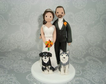 Personalized Bride & Groom with Pets Wedding Cake Topper