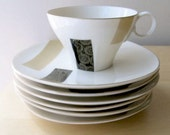 japanese tea cups dessert plates asian modern block graphic black and tan