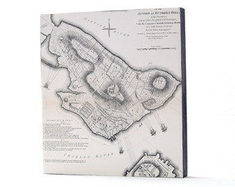 1901 Antique Engraving showing a Plan for the Action / Battle at Bunker Hill, Boston, Mass. On Wood Panel / Ready to Hang