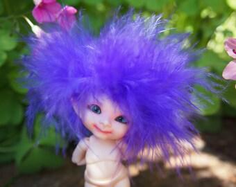 Pretty Purple Pixie Power of the Ancient Fae Forest Realpuki Feather Headband Wig Size 3 Tiny BJD