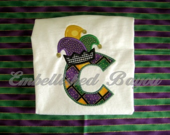 Mardi Gras Jester Hat Initial Appliqued T-shirt for Boys or Girls