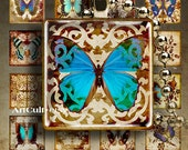 1x1 inch (25mm) images DAMASK BUTTERFLIES Digital Collage Sheet Printable Download for square pendants bezel trays magnets vintage paper