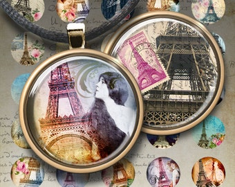 1 inch (25mm) and 1.5 inch size images PARIS Printable Digital Collage Sheets Circles for glass and resin Pendants bottle caps magnets