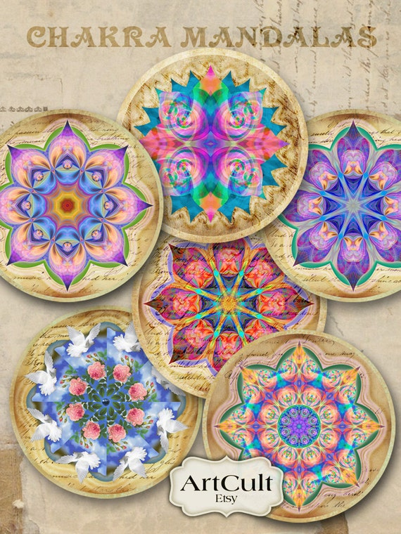 CHAKRA MANDALAS - 2.5 inch Digital Collage Sheet for Pocket Mirrors Magnets Paper Weights Printable Spiritual images