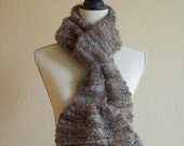 Wool Mohair Scarf with Ruffle Extra Long  Brown-Grey-Aqua  Handknit