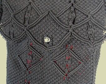 Handmade Black  Micro Macrame Nylon Messenger Bag